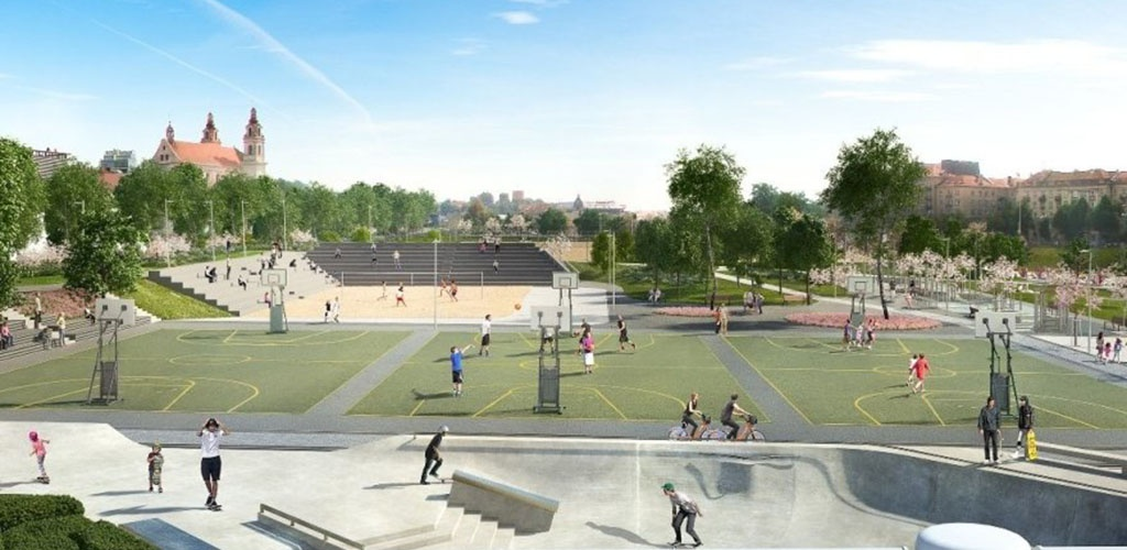Vilniuje, prie Baltojo tilto, atsiras naujas sporto aikštynas
